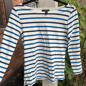 Jcrew Striped Boat Neck 3/4 Sleeve T-shirt